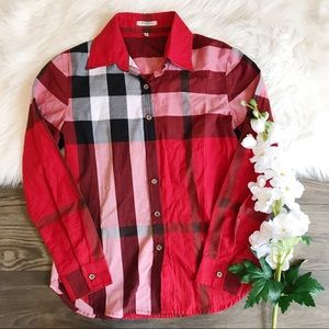 Burberry Red Plaid Button Down Shirt